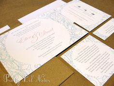 Forever And Always Custom Color Wedding Invitation Set by PrEttYLiLNoTeS on Etsy