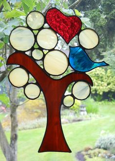 Stained Glass Suncatcher Blue Love Bird in a by ShatteredbyLight, $40.00