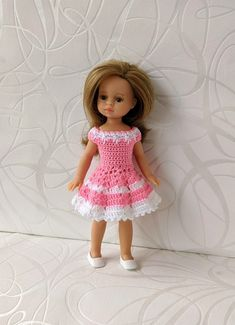 Clothes for mini dolls Paola Reina, doll 8,27 inch/21cm crochet dress for doll clothing Handmade Dresses, Dress Making, Doll Clothes, Flower Girl Dresses, Dolls, Wedding Dresses, Crochet, Mini, Clothing