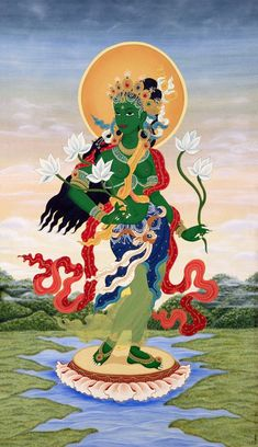 BeautifulStanding Tara. Go to the link and download these images for free.   #Buddha #GreenTara #Buddhism