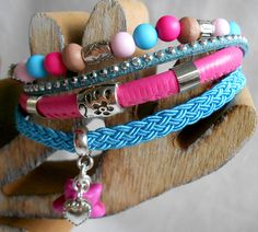 Turquoise/pink ibiza bracelet. www.facebook.com/mariastinytreasures www.tinytreasures.nl