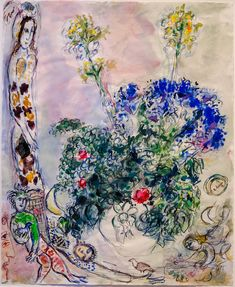 Marc Chagall, Variation on the Theme of the Magic Flute, 1965 Marc Chagall, Chagall Paintings, Emil Nolde, The Magic Flute, Time Painting, French Artists, Beautiful Paintings, Street Art, Images