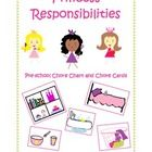 This is a fun way to organize your day with your toddler or preschool princess with a simple daily check list of age appropriate chores, along with. Chore Cards, Responsibility Chart, Age Appropriate Chores, Preschool Letters, How To Make Bed, Teaching Tools, Teacher Newsletter, No Response, Homeschool