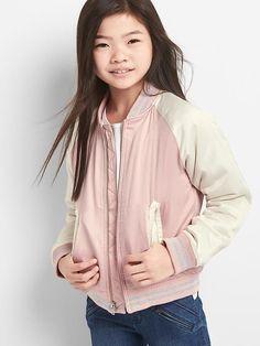 Gap Girls Satin Varsity Jacket Pink Standard