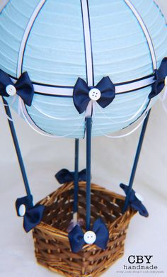 Light Blue and Navy Hot Air Balloon Centerpiece // Hot Air Balloon Party Decorations // Hot Air Balloon Nursery decor CraftedByYudi in the center of Aire Caliente Hot Air Balloon Centerpieces, Baby Shower Centerpieces, Centerpiece Decorations, Balloon Lights, Balloon Party, Baby Balloon, Ballon Lampe, Mesas Para Baby Shower, Baby Boy Shower
