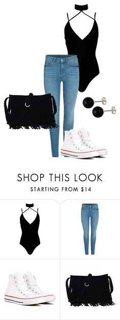 """Basic"" by maize-xx on Polyvore featuring Boohoo, Converse, black, skinnyjeans and converse"