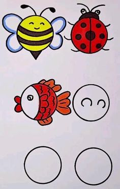 Malen Fisch, Biene Schildkröten Easy Drawings For Kids, Art Drawings Sketches Simple, Doodle Drawings, Drawing Ideas Kids, Kid Drawings, Drawing Tutorials For Kids, Hand Art Kids, Art For Kids, Drawing For Children