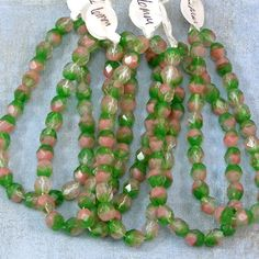 Watermelon Mix Fire Polish 6mm Faceted Round Glass Beads by XOSupplies