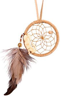 """Wolf Totem Dream Catcher   Detailed with glass and wood beads, brown and beige hackle feathers, pig split hide and a carved bone Wolf. Size: 2"""". Review it off of: http://www.indianvillagemall.com/totemcollection.html"""