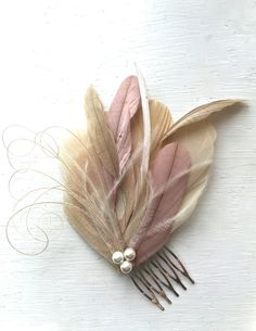 LANE in Champagne, Dusty Rose, and Ivory Peacock Feather Fascinator with Pearl, Feather Hair Comb, Bridal Hair Piece by Lucyohlucy on Etsy