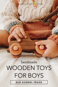 Toddler boys love trucks, and wooden toys provide a unique, fun, and eco-friendly play experience for all children! Childrens Gifts, Gifts For Kids, Handmade Wooden Toys, Organic Oil, Wood Toys, Toys For Boys, Toddler Boys, Baby Toys, Old School
