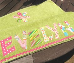 Personalized Appliqued Beach Towel girly green by easyedges, $30.00