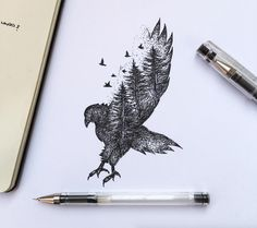 Poetic Surreal Black Ink Pen Illustrations More