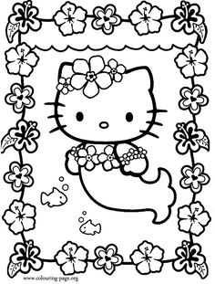 Coloring Hello Kitty Dressed As A Mermaid P And Trend Pages For Adults