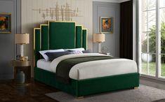 Meridian Furniture Hugo Cream Cream velvet contemporary king bed w/ golden base Sleep like a king while adding Bedroom Bed Design, Bedroom Decor, Bed Headboard Design, Art Deco Bedroom, Velvet Bed, Pink Velvet, Green Velvet, Meridian Furniture, Upholstered Platform Bed