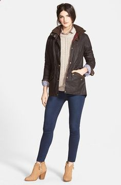 Barbour Waxed Cotton Jacket, Sweater, Shirt & Paige Denim Jeans available at #Nordstrom