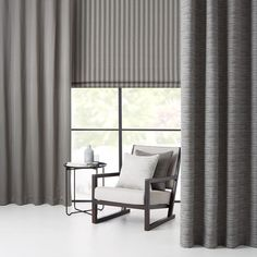 Warwick Fabrics : SUMMIT - combine a roman blind with side drapes for a sharp look Living Room Blinds, House Blinds, Vertical Window Blinds, Blinds For Windows, Bay Window Curtains, Bedroom Curtains, Matchstick Blinds, Vinyl Mini Blinds, Warwick Fabrics