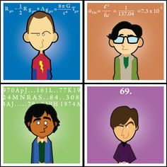 Big Bang Theory Squares - Original Artwork - Set of 4  original prints Sheldon Cooper Bazinga