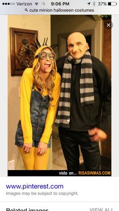 Halloween costumes: Minion and Gru. I wanna be a minion! Costume Halloween, Carnaval Costume, Halloween Diy, Gru Costume, Minion Halloween, Happy Halloween, Minion Costumes, Cute Costumes, Adult Costumes