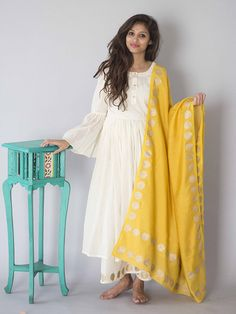 Size Chart - Length of kurta is 50 inches & length of 38 inches. XS - Chest : 32.5, Waist : 26, Hip : 35, Shoulder : 14, Armhole : 17 S - Chest : 34, Waist