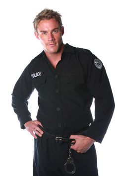 Men's Costume: Police Shirt One Size
