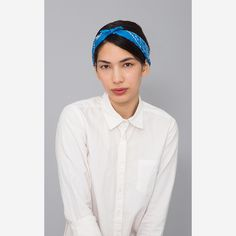 Paisley Silk Bandana (Blue)