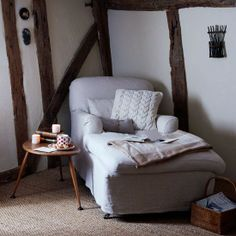 LOVE... A comfy reading chair Gorgeous Modern Country Living Room