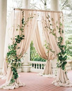 2017 Wedding Trends-Top 30 Greenery Wedding Decoration Ideas elegant greenery and blush wedding arch ideas Gold Ivory Wedding, Floral Wedding, Burgundy Wedding, Moss Green Wedding, Wedding Altars, Wedding Rustic, Wedding Greenery, Hanging Flowers Wedding, Greenery Decor