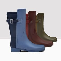 The  #Hunter Original Short Back Strap Rain Boots now come in Mineral Blue, Lava Red and Swamp Green. Perfect for rainy days!