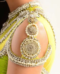 #WoW Embellishment on Neckline and Sleeves of Neon Green #Desi Kalidar Suit - for more follow my Indian Fashion boards :)