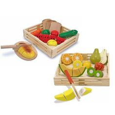 Melissa & Doug Wooden Cutting Food Value Pack Play Food Set by Melissa & Doug. $37.99. realisitic looking food. Cutting Foods: set contains eight pieces of wooden food, a cutting board and a wooden knife 31 pieces great way to introduce the concepts of part, whole and fractions. Includes everything a child needs to entertain for hours!. Wooden food play set. Cutting fruits: Wooden set features a storage crate, seven sliceable fruits and a knife! Hands-on fun with this u...