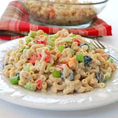 Easy to make Macaroni Salad when you have no mayo on hand! Great for a 4th of July picnic.