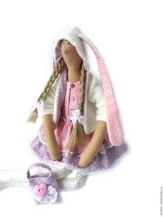 Купить Кукла Зая в стиле Тильда - бледно-сиреневый, тильда, кукла Тильда, зайка, зайчик