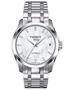 Tissot Watch, Women's Swiss Automatic Couturier Diamond Accent Stainless Steel Bracelet 32mm T0352071111600 - Women's Watches - Jewelry  Watches - Macy's    look at that mother of pearl face. hnng