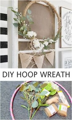 "Hello! Have you spotted these ""hoop wreaths"" popping up all over the internet and around town? I started noticing them last year, when some of my favorite home bloggers and home decor stores were using extra large, oversized hoops to create stunning, yet simple displays. I've had it on my to-do list ever since. Inspiration …"