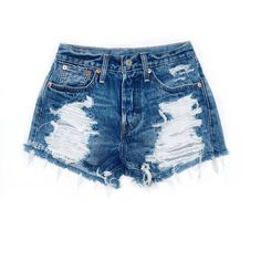 Levis High Waisted Cut Off Denim Cheeky Jean Shorts Distressed (145 PEN) ❤ liked on Polyvore featuring shorts, grey, women's clothing, jean shorts, high rise denim shorts, high-waisted shorts, ripped jean shorts and destroyed denim shorts