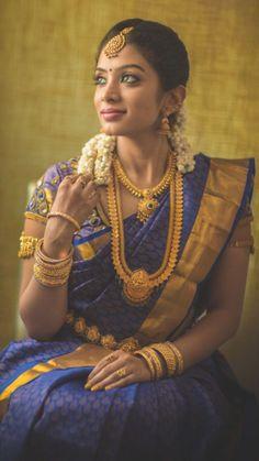 South Indian Bride Looking Stunning in a Royal Blue Kanchipuram Silk Saree South Indian Bridal Jewellery, Indian Bridal Sarees, South Indian Sarees, Bridal Silk Saree, Saree Wedding, Indian Jewelry, Indian Silk Sarees, Wedding Wear, Kerala Bride