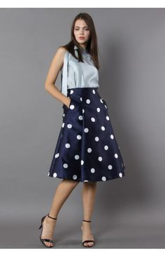Fab in Dots A-line Midi Skirt - Retro, Indie and Unique Fashion