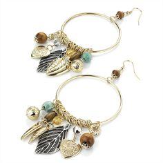 Big Tribal Charm Hoop Earrings