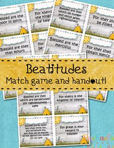 Primary 7 Lesson 10: The Sermon on the Mount, Beatitudes.  Matching game with free downloads! - Rachael's BookNook