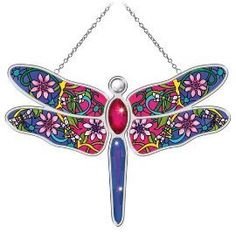 Amia 5589 Suncatcher with Dragonfly Design, Hand Painted Glass, 7-Inch by 10-1/4-Inch by Amia. $37.99. Comes boxed, makes for a great gift as well. Includes chain. Handpainted glass. Vibrant dragonflies busily flying from one flower to another inspired amia's whispering wings suncatchers with distinctive floral designs.