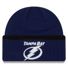 4611917b42b Men s Tampa Bay Lightning New Era Navy Ribbed Up Team Cuffed Knit Hat Knit  Beanie
