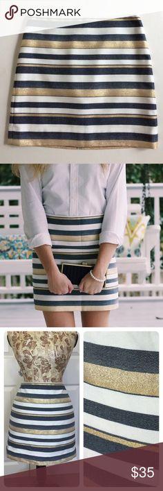 J. Crew Blue and Gold Stripes Skirt Nwt J. Crew Skirts Mini
