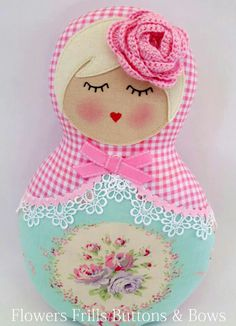 inspiration for handcrafted shape card ... matryoshka doll  ... cute rose ... luv the pastel colors and lace on the scarf ...
