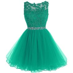 Tideclothes Short Beaded Prom Dress Tulle Applique Evening Dress ($86) ❤ liked on Polyvore featuring dresses, short dresses, short beaded dress, short green cocktail dress, short tulle dress and prom dresses