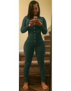 Green Button Front V Neck Long Sleeve Bodycon Rompers Jersey Jumpsuit