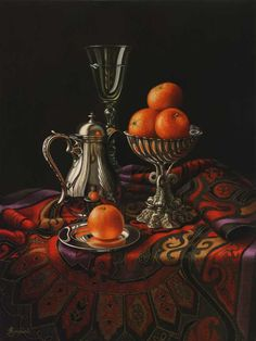 Silverware with Clementines, Contemporary realism oil painting by Anne Songhurst / http://www.annesonghurst.co.uk/