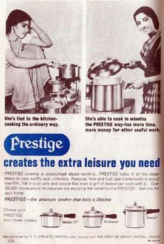 Buy a pressure cooker so the woman can keep cooking. 26 Bizarre Old Indian Print Ads And Photos That Will Make You Wonder What They Were Thinking Vintage India, Vintage Ads, Vintage Prints, Vintage Photos, Vintage Advertising Posters, Old Advertisements, Vintage Posters, Retro Posters, Retro Ads