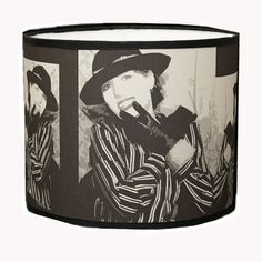 Drum fabric lampshade black white and gray by Gingerartlamps, $125.00