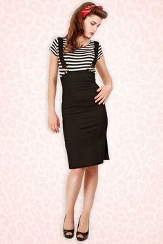 Heidi Buckle Braces Skirt Black
